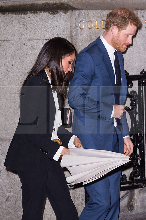 © Licensed to London News Pictures. 01/02/2018. London, UK. HRH PRINCE HARRY and fiance MEGHAN MARKLE attend the Endeavour Fund Awards at Goldsmith's Hall. Photo credit: Ray Tang/LNP