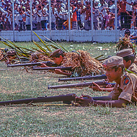 Young soldiers perform a drill at a stadium in Dhaka, Bangladesh, celebrating thier recent independence from Pakistan. 1977 photo