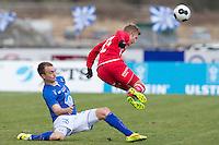 1. divisjon fotball 2014: Hødd - Tromsdalen. Hødds Victor Grodås (t.v.) og Tomas Kristoffersen i 1. divisjonskampen mellom Hødd og Tromsdalen på Høddvoll.