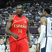12 August 2012: Spain Serge Ibaka reacts during 107-100 Team USA victory over Team Spain, during the men's Gold Medal Game, at the North Greenwich Arena, in London, Great Britain.