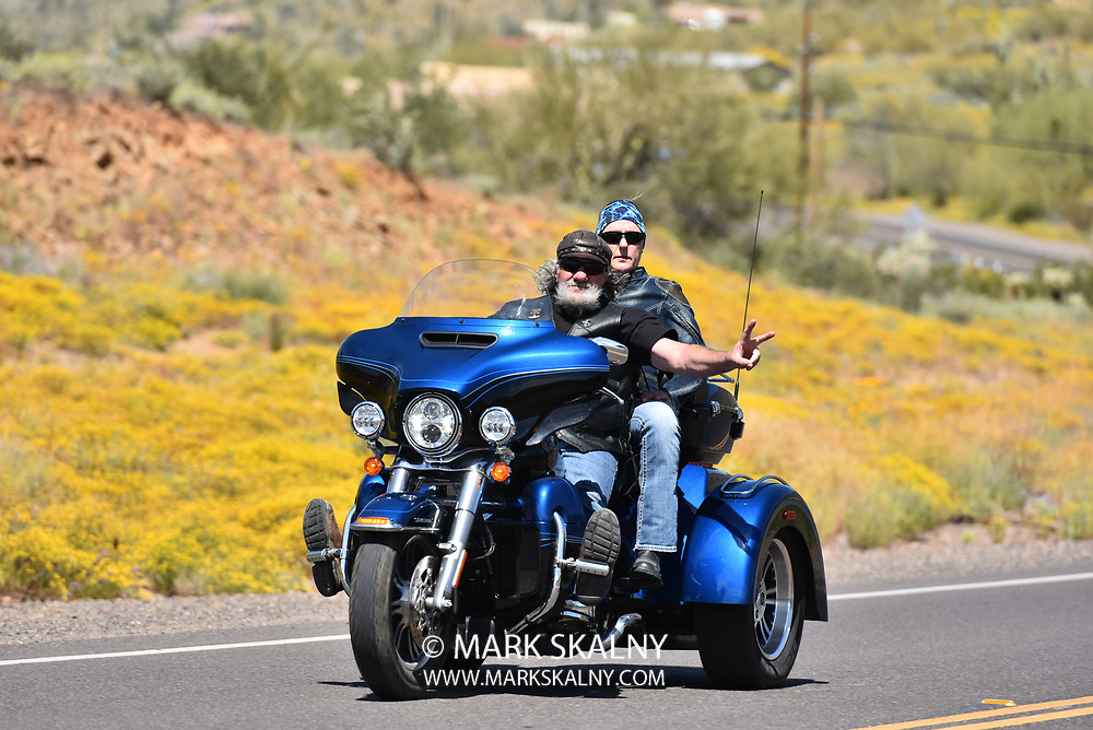 Motorcycles on the open road in Arizona