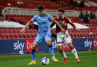 Coventry City's Ryan Giles shields the ball from Middlesbrough's Patrick Roberts<br /> <br /> Photographer Alex Dodd/CameraSport<br /> <br /> The EFL Sky Bet Championship - Middlesbrough v Coventry City - Tuesday 27th October 2020 - Riverside Stadium - Middlesbrough<br /> <br /> World Copyright © 2020 CameraSport. All rights reserved. 43 Linden Ave. Countesthorpe. Leicester. England. LE8 5PG - Tel: +44 (0) 116 277 4147 - admin@camerasport.com - www.camerasport.com