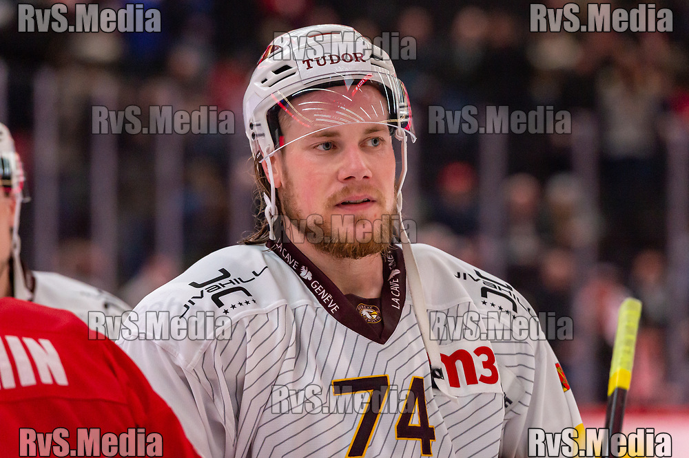 LAUSANNE, SWITZERLAND - NOVEMBER 23: #74 Marco Maurer of Geneve-Servette HC looks on after the Swiss National League game between Lausanne HC and Geneve-Servette HC at Vaudoise Arena on November 23, 2019 in Lausanne, Switzerland. (Photo by Monika Majer/RvS.Media)