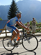France - Wednesday, Jul 23 2008: Stefan Schumacher (Ger) Gerolsteiner at the start of the final climb of Alpe d'Huez. (Photo by Peter Horrell / http://www.peterhorrell.com)