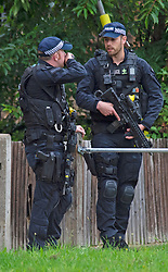© Licensed to London News Pictures 30/08/2021. <br /> London, UK, Armed police are on scene after reports of a stabbing in Orpington, South East London. A large number of police remain in the area as a section 60 is in place. Police have made several arrests and an ambulance is also in attendance. Photo credit:Grant Falvey/LNP