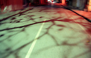 Mysterious and scary atmosphere at night in an empty street of Hanoi. Tree shadows run over the bitumen. Some red lights lit the road.  Vietnam, Asia.