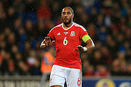 Ashley Williams of Wales looks on.Wales v Northern Ireland, International football friendly match at the Cardiff City Stadium in Cardiff, South Wales on Thursday 24th March 2016. The teams are preparing for this summer's Euro 2016 tournament.     pic by  Andrew Orchard, Andrew Orchard sports photography.