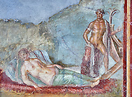 Roman fresco wall painting of Ariadne fast asleep on a bed of seaweed does not realise that Theseus is about to abandon her and sailaway on a ship to Athens, Pompeii House of colored Capitals, VII,31-51, inv 9052 , Naples National Archaeological Museum .<br /> <br /> If you prefer to buy from our ALAMY PHOTO LIBRARY  Collection visit : https://www.alamy.com/portfolio/paul-williams-funkystock - Scroll down and type - Roman Fresco Naples  - into LOWER search box. {TIP - Refine search by adding a background colour as well}.<br /> <br /> Visit our ROMAN ART & HISTORIC SITES PHOTO COLLECTIONS for more photos to download or buy as wall art prints https://funkystock.photoshelter.com/gallery-collection/The-Romans-Art-Artefacts-Antiquities-Historic-Sites-Pictures-Images/C0000r2uLJJo9_s0