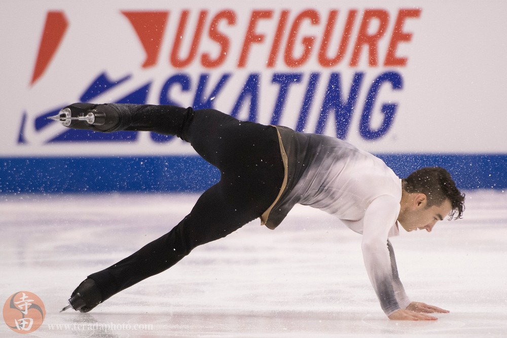 January 4, 2018; San Jose, CA, USA; Max Aaron performs in the men's short program during the 2018 U.S. Figure Skating Championships at SAP Center.