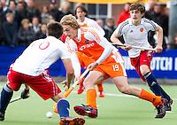 AERDENHOUT - 07-04-2012 - Hajo Meijer, zaterdag tijdens de wedstrijd tussen Nederland Jongens A en Engeland Jongens A (3-4), tijdens het Volvo 4-Nations Tournament op de velden van Rood-Wit in Aerdenhout.