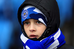 A Leicester City fan in the stands before the Premier League match at the King Power Stadium, Leicester