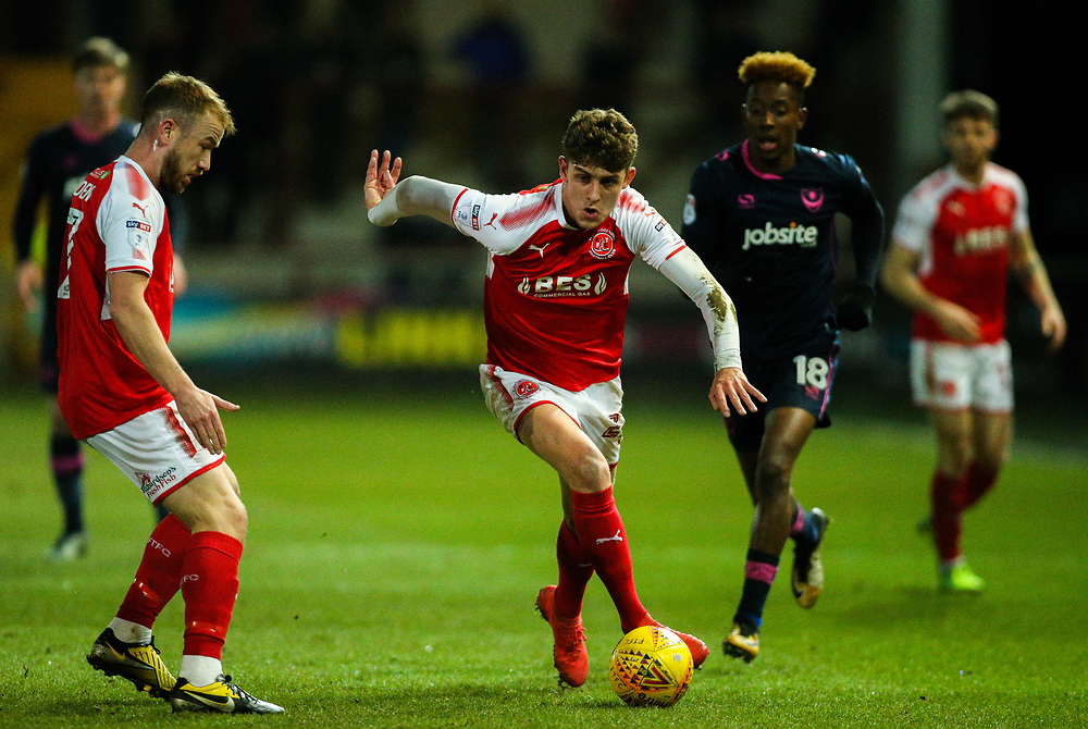 Fleetwood Town's Harrison Biggins runs at the Portsmouth defence<br /> <br /> Photographer Alex Dodd/CameraSport<br /> <br /> The EFL Sky Bet League One - Fleetwood Town v Portsmouth - Tuesday 20th February 2018 - Highbury Stadium - Fleetwood<br /> <br /> World Copyright © 2018 CameraSport. All rights reserved. 43 Linden Ave. Countesthorpe. Leicester. England. LE8 5PG - Tel: +44 (0) 116 277 4147 - admin@camerasport.com - www.camerasport.com