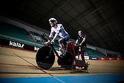 Test ride with the new Hope\Lotus track bike for British Cycling. Manchester Velodrome.