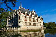 Exterior of the Renaissance Château d'Azay-le-Rideau with its River Indre moat, Built between 1518 and 1527,, Loire Valley, France .<br /> <br /> Visit our EARLY MODERN ERA HISTORICAL PLACES PHOTO COLLECTIONS for more photos to buy as wall art prints https://funkystock.photoshelter.com/gallery-collection/Modern-Era-Historic-Places-Art-Artefact-Antiquities-Picture-Images-of/C00002pOjgcLacqI
