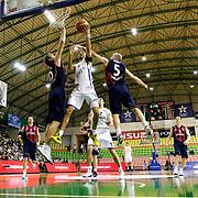 Anadolu Efes's Sasha Vujacic (C) during their Turkish Basketball League match Anadolu Efes between Ted Kolej at the Ayhan Sahenk Arena in Istanbul, Turkey on Sunday, 31 March, 2013. Photo by TURKPIX