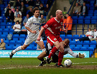 Photo: Jed Wee.<br />Tranmere Rovers v Bristol City. Coca Cola League 1. 22/04/2006.<br /><br />Bristol City's Steve Brooker scores the opening goal of the game.