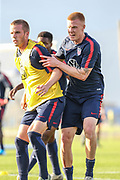 USA Mens National Team defenders Walker Zimmerman and Justen Glad tussle in an inner squad scrimmage  during training camp, Friday, Jan. 10, 2020, in Bradenton, Fla. (Kim Hukari/Image of Sport)