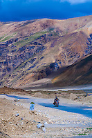 Riding a motorcycle along the Leh-Manali Highway, Himachal Pradesh, India.