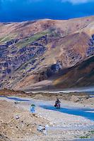 Riding a motorcycle along the Leh-Manali Highway, Himachal Pradesh, India.