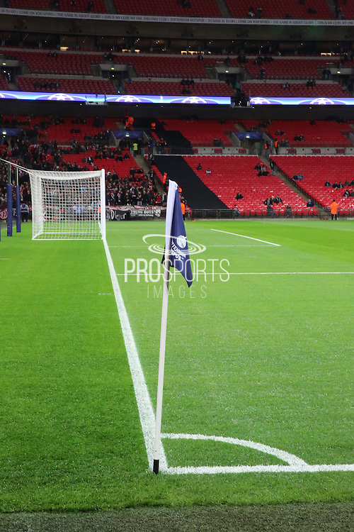 Tottenham corner flag during the Champions League match between Tottenham Hotspur and Bayer Leverkusen at Wembley Stadium, London, England on 2 November 2016. Photo by Matthew Redman.