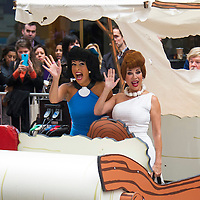 """Kathie Lee Gifford as Wilma and Hoda Kotb as Betty from the beloved 60's cartoon """"The Flintstones"""" during the annual Halloween Episode of NBC's The Today Show in New York City."""