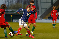 Kai Kennedy (Rangers FC) challenges for the ball during the U17 European Championships match between Portugal and Scotland at Simple Digital Arena, Paisley, Scotland on 20 March 2019.