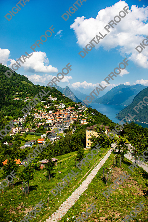 Beautiful view of Bre town in Switzerland with Lake Lugano at the background
