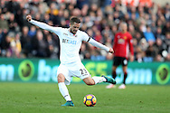 Gylfi Sigurdsson of Swansea city in action.  Premier league match, Swansea city v Manchester Utd at the Liberty Stadium in Swansea, South Wales on Sunday 6th November 2016.<br /> pic by  Andrew Orchard, Andrew Orchard sports photography.