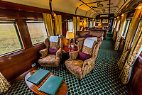 Lounge car on the luxury Rovos Rail train between Pretoria and Cape Town, South Africa.