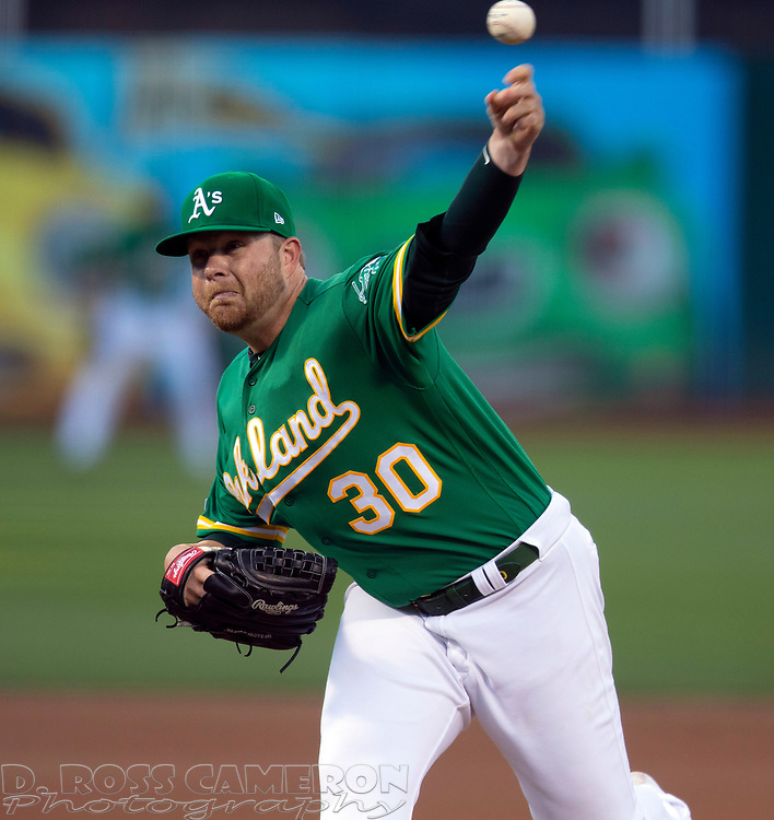 Jul 25, 2019; Oakland, CA, USA; Oakland Athletics starting pitcher Brett Anderson (30) delivers against the Texas Rangers during the first inning of a baseball game at Oakland Coliseum. Mandatory Credit: D. Ross Cameron-USA TODAY Sports