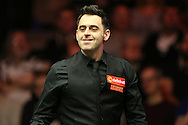 Ronnie O'Sullivan (Eng) smiling. Ronnie O'Sullivan v Liang Wenbo, 1st round match at the Dafabet Masters Snooker 2017, day 1 at Alexandra Palace in London on Sunday 15th January 2017.<br /> pic by John Patrick Fletcher, Andrew Orchard sports photography.