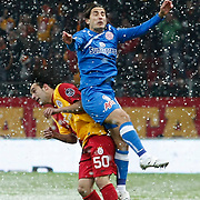 Galatasaray's Engin Baytar (L) during their Turkish Super League soccer match Galatasaray between MP Antalyaspor at the TT Arena Stadium at Seyrantepe in Istanbul Turkey on Saturday 01 February 2012. Photo by TURKPIX