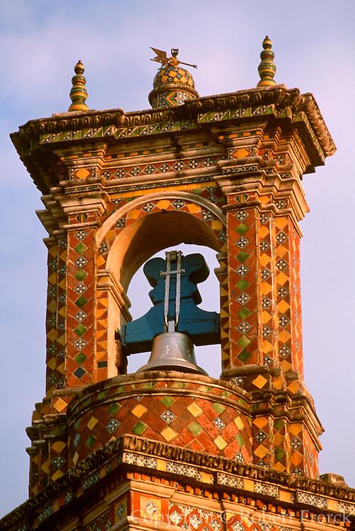 MEXICO, COLONIAL, PUEBLA San Francisco Acatepec tiled belltower