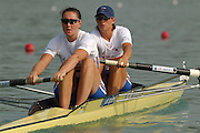 28/08/2003 Thursday.2003 World Rowing Championships, Idroscala. Milan, Italy.Semi finals, women's pair , Britain's Cath Bishop [left] and Kate Grainger, at the start of their semi final ... Milan. ITALY 2003 World Rowing Championships. Idro Scala Rowing Course. [Mandatory Credit: Peter Spurrier: Intersport Images.]