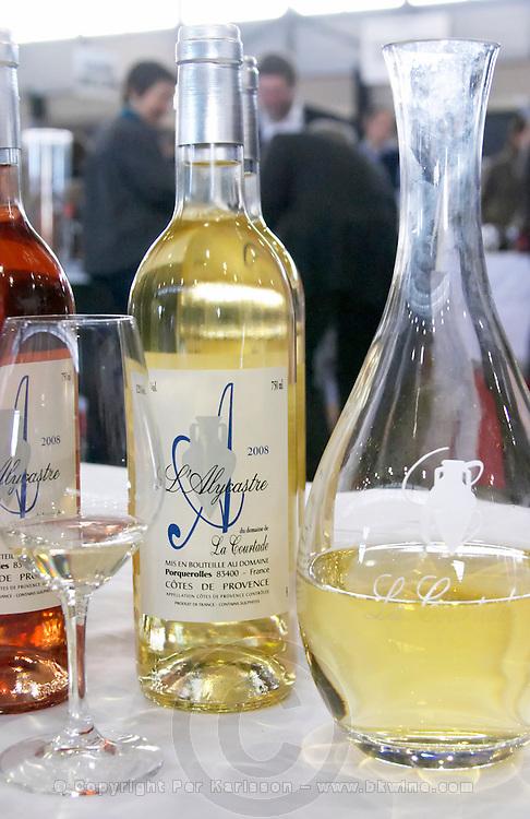 decanter and wine bottle l'alycastre domaine de la courtade porquerolles provence france