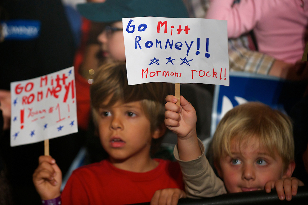 Boys await Republican Presidential candidate Mitt Romney who held a grassroots rally at The Hall at Senate's End.  The South Carolina primary will be held on January 21st.