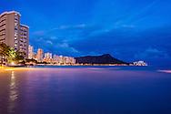 Waikiki Beach at night, Honolulu, Oahu, Hawaii