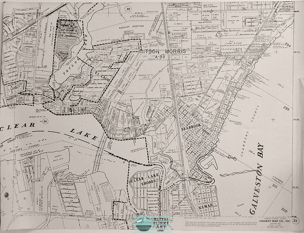Vintage maps and land plots from the Houston-Galveston coastal area including the Gulf of Mexico
