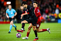 Stefan Savic of Atletico Madrid takes on Trent Alexander-Arnold of Liverpool - Mandatory by-line: Robbie Stephenson/JMP - 11/03/2020 - FOOTBALL - Anfield - Liverpool, England - Liverpool v Atletico Madrid - UEFA Champions League Round of 16, 2nd Leg