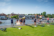 Henley on Thames, England, United Kingdom, 28th June 2019, Henley Royal Regatta Qualifiers, time trial, on Henley Reach, [© Peter SPURRIER/Intersport Image]<br /> <br /> 14:19:07