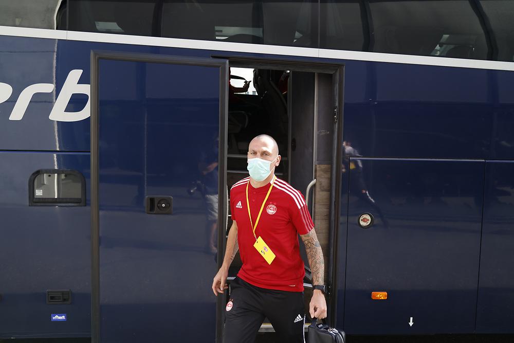 GOTHENBURG, SWEDEN - JULY 29:  Scott Brown (C) arrive ahead of the UEFA Europa Conference League Qualifying match 2nd leg between BK Hacken and Aberdeen FC at Bravida Arena on July 29, 2021 in Gothenburg, Sweden.<br /> (Photo by Derek Ironside/Newsline Media)