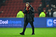 Bristol City manager Lee Johnson appauds the fans as he celebrates the 2-1 win over Bolton at full time during the The FA Cup fourth round match between Bristol City and Bolton Wanderers at Ashton Gate, Bristol, England on 25 January 2019.