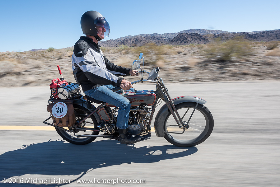Denis Sharon riding his 1916 Harley-Davidson during the Motorcycle Cannonball Race of the Century. Stage-14 ride from Lake Havasu CIty, AZ to Palm Desert, CA. USA. Saturday September 24, 2016. Photography ©2016 Michael Lichter.