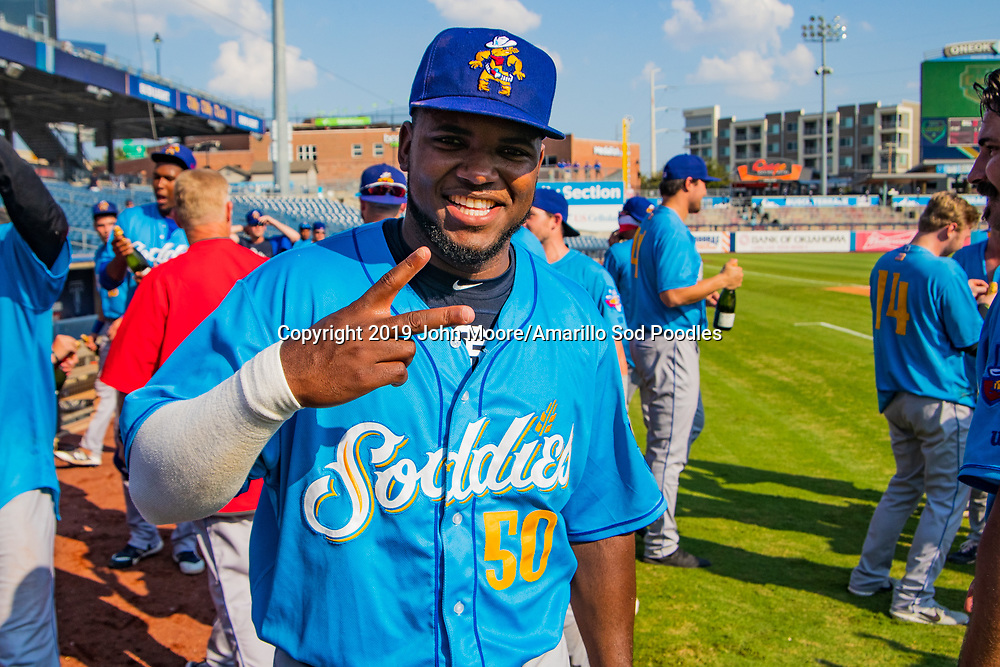 Amarillo Sod Poodles pitcher Carlos Belen (50) celebrates after the Sod Poodles won against the Tulsa Drillers during the Texas League Championship on Sunday, Sept. 15, 2019, at OneOK Field in Tulsa, Oklahoma. [Photo by John Moore/Amarillo Sod Poodles]