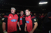 David Hewett and Mark Hammett celebrate after the rugby union Super 12 final between the Crusaders and Brumbies, Jade Stadium, Christchurch, 25 May, 2002. Photo: PHOTOSPORT<br /> <br /> <br /> <br /> dave