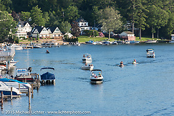 Boating in Weir's Channel between Paugus Bay and Lake Winnipesaukee during Laconia Motorcycle Week. Laconia, NH, USA. June 13, 2015.  Photography ©2015 Michael Lichter.