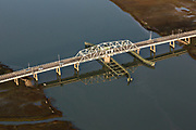 Aerial view of the Ben Sawyer swing bridge across the Intracoastal Waterway at Sullivans Narrows, connecting Mount Pleasant with Sullivans Island, South Carolina