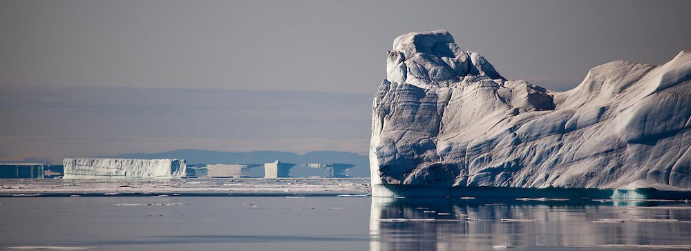 Fata Morgana, or superior mirage beyond an iceberg in Kane Basin off the coast of Arctic Greenland