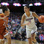 UNCASVILLE, CONNECTICUT- DECEMBER 4: Kia Nurse #11 of the Connecticut Huskies drives to the basket defended by Brooke McCarty #11 of the Texas Longhorns during the UConn Huskies Vs Texas Longhorns, NCAA Women's Basketball game in the Jimmy V Classic on December 4th, 2016 at the Mohegan Sun Arena, Uncasville, Connecticut. (Photo by Tim Clayton/Corbis via Getty Images)