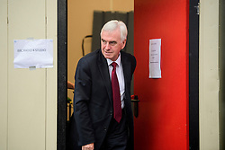 © Licensed to London News Pictures. 26/09/2016. Liverpool, UK. Shadow Chancellor JOHN MCDONNELL seen leaving the Radio 4 studio on the morning of day two of the Labour Party Annual Conference, held at the ACC in Liverpool, merseyside, UK. Photo credit: Ben Cawthra/LNP